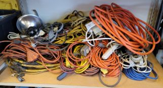 LOT - EXTENSION CORDS, PLUG STRIPS, SOME DROP LIGHTS