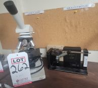 LOT - (1) LEICA MICROSCOPE AND (1) SKOAL CENTERING SCOPE