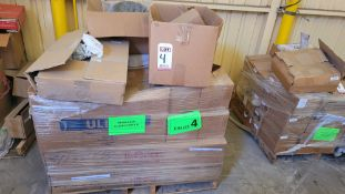 LOT - PALLET OF WELDING SUPPLIES, HARDWARE, SPRINGS, SPARK PLUGS, END MILL, COLLETS, MOP HEADS,