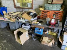 LOT - TABLE, DESK AND CONTENTS, EXCLUDING DOUBLE END GRINDER (LOCATION: AS)