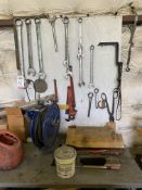 LOT - HAND TOOLS ON WALL (LOCATION: AS)