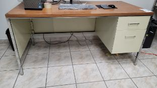 METAL DESK, 5' X 3', CONTENTS NOT INCLUDED