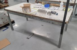 WOOD TOP TABLE, 6' X 3', CONTENTS NOT INCLUDED, **IMMEX REGISTERED EQUIPMENT (NEEDS TO RETURN TO THE