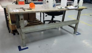 """WOOD TOP TABLE, 6' X 30"""", CONTENTS NOT INCLUDED, **IMMEX REGISTERED EQUIPMENT (NEEDS TO RETURN TO"""