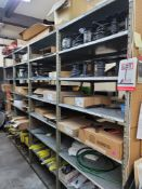 LOT - CONTENTS ONLY OF (4) 3' WIDE SECTIONS OF STOCK RACK, TO INCLUDE VARIOUS CUT-TO-LENGTH HOSE:
