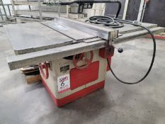 """DELTA 12""""-14"""" TABLE SAW, TILTING ARBOR, COMES W/ COLLECTION OF BLADES, 1"""" ARBOR"""