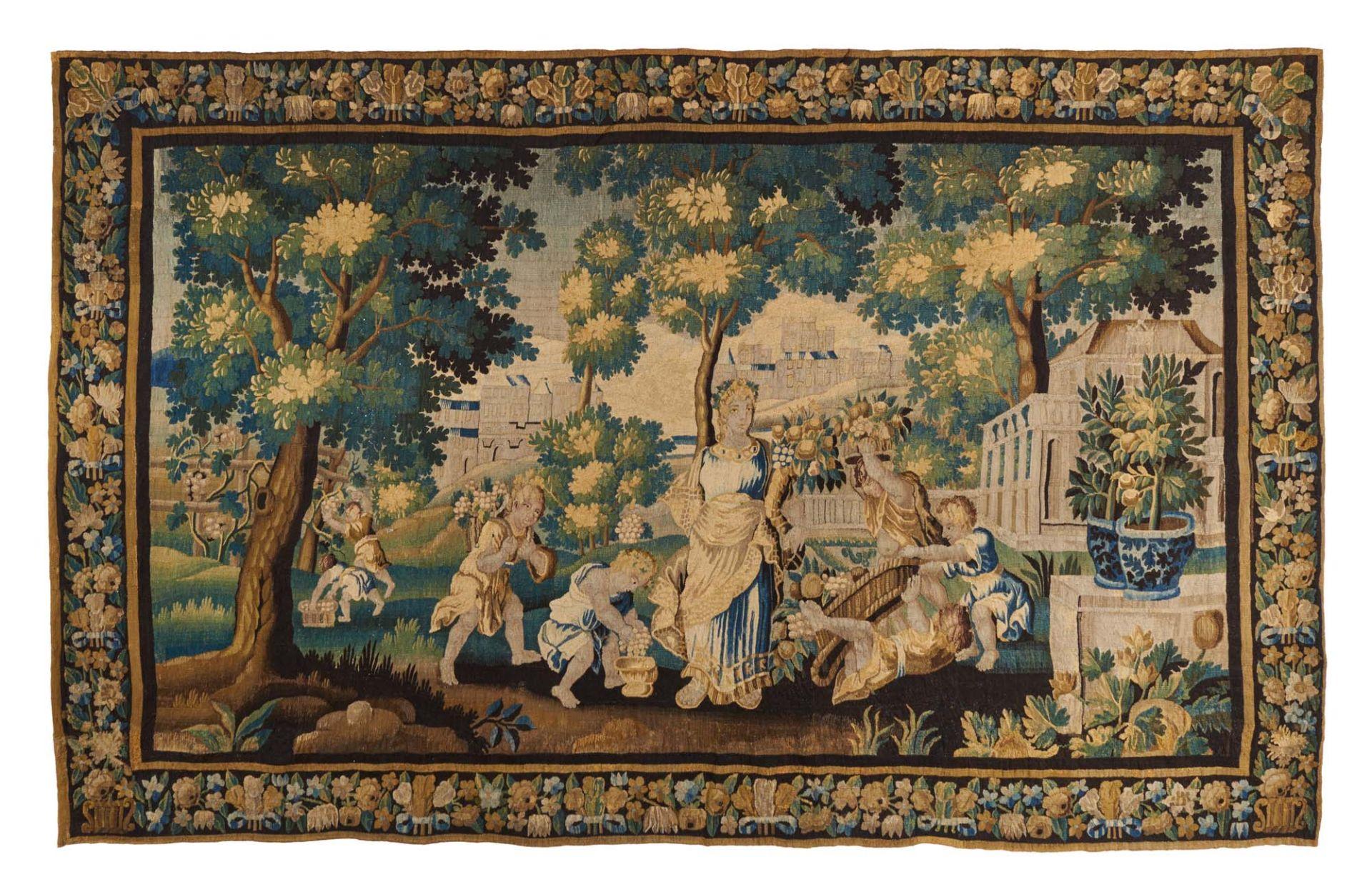 TAPISSERIE MIT ALLEGORISCHER SZENE. Um 1700. Wolle. 416x255cm. Zustand B/C.  Sonderregelungen Art &