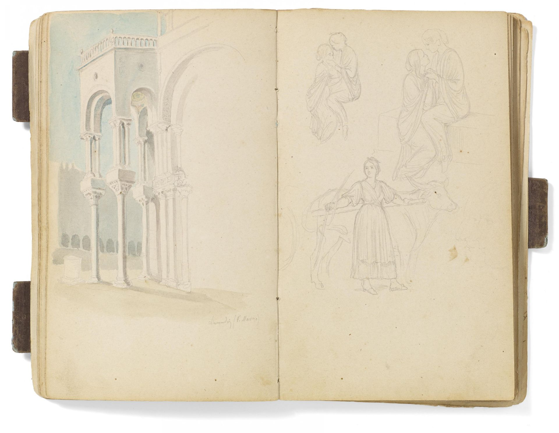 Kaupert, Gustav Kassel 1819 - 1897  Sketchbook, ca. 50 pages. Architecture, Italian landscapes - Bild 4 aus 6