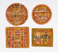 FOUR PAINTING OF THE JAGANNATHA TRINITY. India. Orissa. Puri. Late 19th/beg. 20th c. Pigments on
