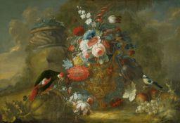Belvedere, AndreaNeapel um 1652 - 1732. Umkreis. Großes Blumenstillleben mit einem Papagei. Öl
