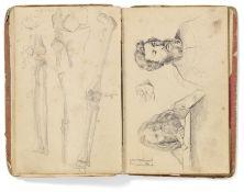 Kaupert, GustavKassel 1819 - 1897 Skizzenbuch, ca. 40 Seiten. Figuren, Tiere und Skelette. Bleistift