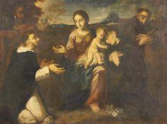 Italienischer Meister. 17. / 18. Jh.Heilige Familie mit Ordensbrüdern. Öl auf Leinwand.