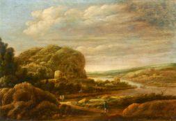 Momper, Josse de d.J Antwerpen 1564 - 1635. Nachfolge. Weite, bergige Flusslandschaft mit Figuren.