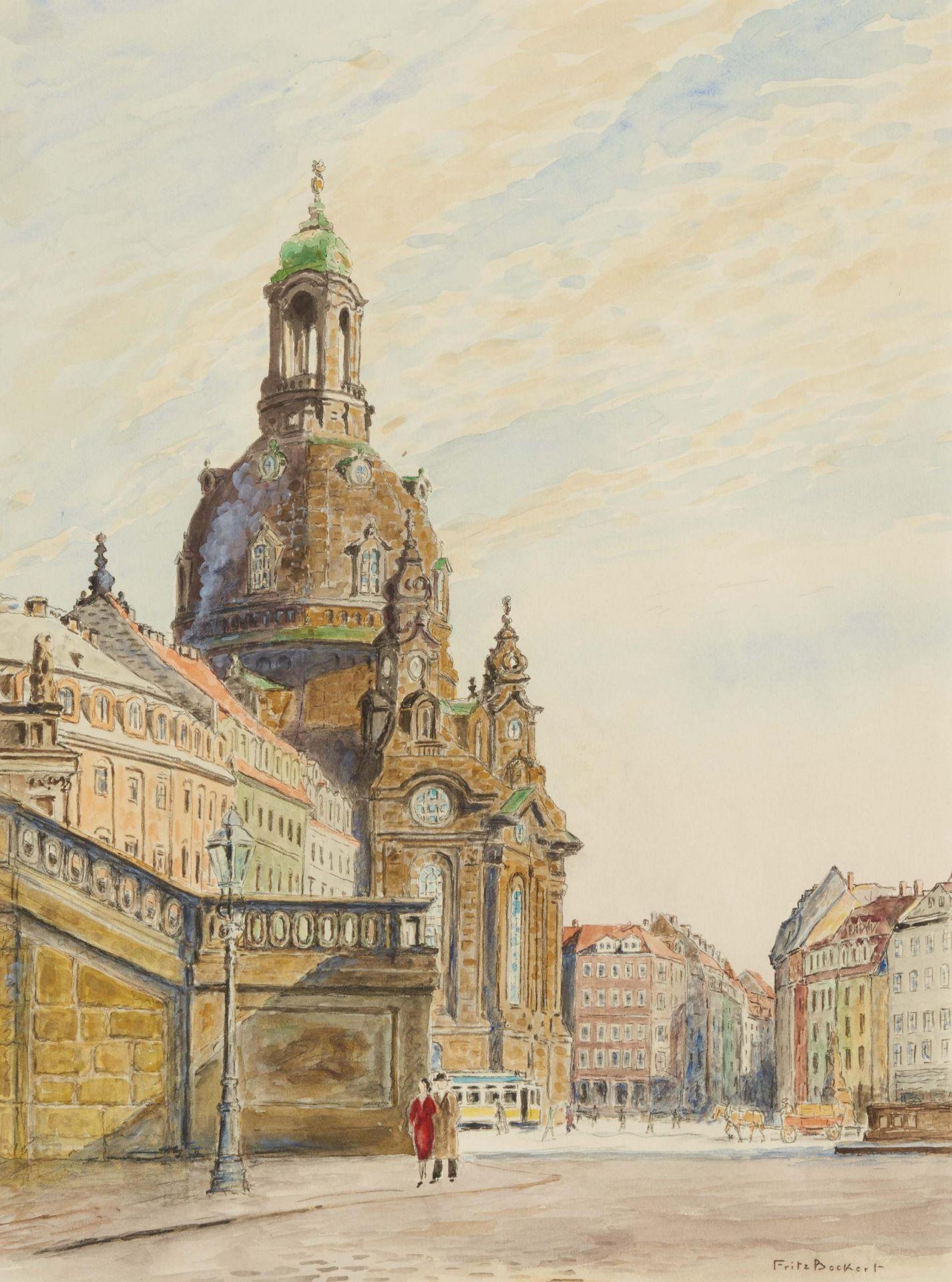 Beckert, Fritz. 1877 Leipzig - 1962 Dresden. Die Frauenkriche in Dresden. Aquarell auf Papier.