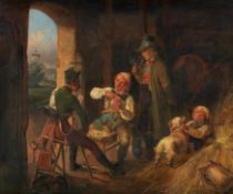 Bichler, W.war tätig in München 1.H.19.Jh.Beim Kartenspiel im Pferdestall. Öl auf Karton. 37 x