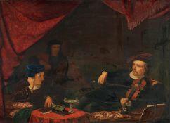 Niederländischer Meister. 19. Jh.Interieur mit Geigenspieler. Öl auf Holz. Parkettiert. 26 x 35,