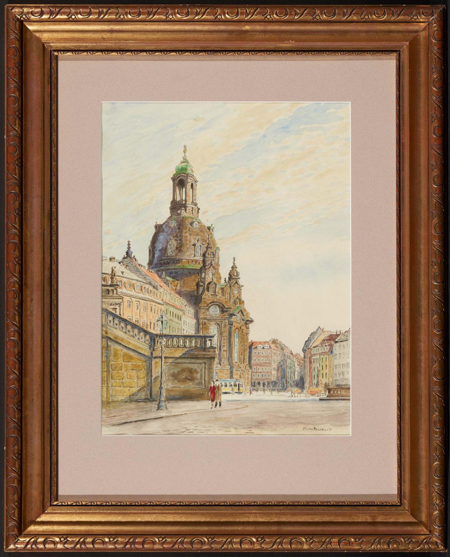 Beckert, Fritz. 1877 Leipzig - 1962 Dresden. Die Frauenkriche in Dresden. Aquarell auf Papier. - Bild 2 aus 4