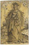 Springinklee, Hans. Nürnberg um 1480 - um 1548. Heilige Dorothea. Holzschnitt aquarelliert auf