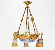 CEILING LAMP Dijon. Jean Noverdy. 1920-1930 Acromantic glass, with milky white, orange and blue
