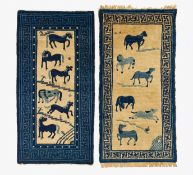TWO CARPETS WITH EACH SIX HORSES. China. 19th-20th c. Wool, knotted. Each 120x60cm. Condition B.