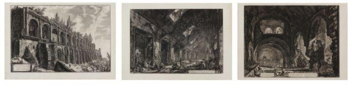 Piranesi, Giovanni-Battista. Rom 1720 - 1778 – nach. Drei Radierungen: a) Veduta di un Eliocamino.