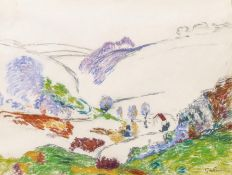 Guillaumin, Armand Paris 1841 - 1927  French Landscape. Study. Pastel on paper. Mounted. 44.5 x