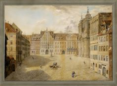 Serz, Johann Georg. Nürnberg 1808 - 1849. Nürnberg. Der Egidienplatz mit Pellerhaus und Kirche.