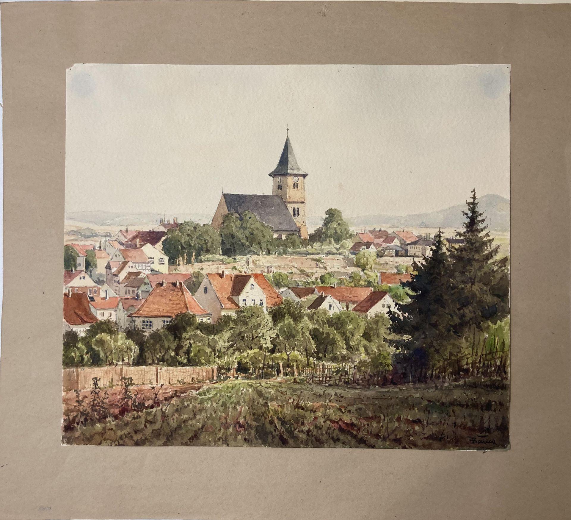 Bauer, Hans. 1883 Drebkau - 1967 Konstanz. Mappe mit 9 Aquarellen. Motive aus Bonn und dem - Bild 5 aus 20