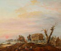 Brand, Johann Christian. Wien 1722 - 1795. Winterabend mit heimkehrenden Holzfällern. Öl auf Holz.