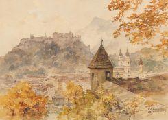 Compton, Edward Harrison. Feldafing 1881 - 1960. Blick über Salzburg. Aquarell auf Papier. Montiert.