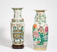 TWO LARGE VASES WITH ANTIQUES AND CALLIGRAPHY RESP. PHOENIX BIRDS IN PEONIES. China. 19th-20th c.