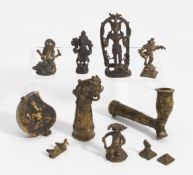 ELEVEN FIGURES, A PIPE AND SMALL BOX. India. 18th-20th c. Bronze with dark patina. a) Shiva with