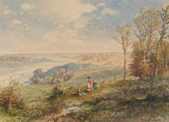 Wenglein, Josef. 1845 München - 1919 Bad Tölz. Blick ins Isartal. Aquarell auf Papier. Montiert.