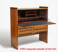 DROP WRITING CABINET. Mid. 20th c. Danish design. Walnut and rosewood. Inside compartments, table