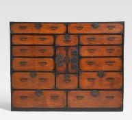 LARGE CHÔBA DANSU FOR A MERCHANT. Japan. 19th - beg. 20th c. Zelkova (keyaki), cypress (hinoki),