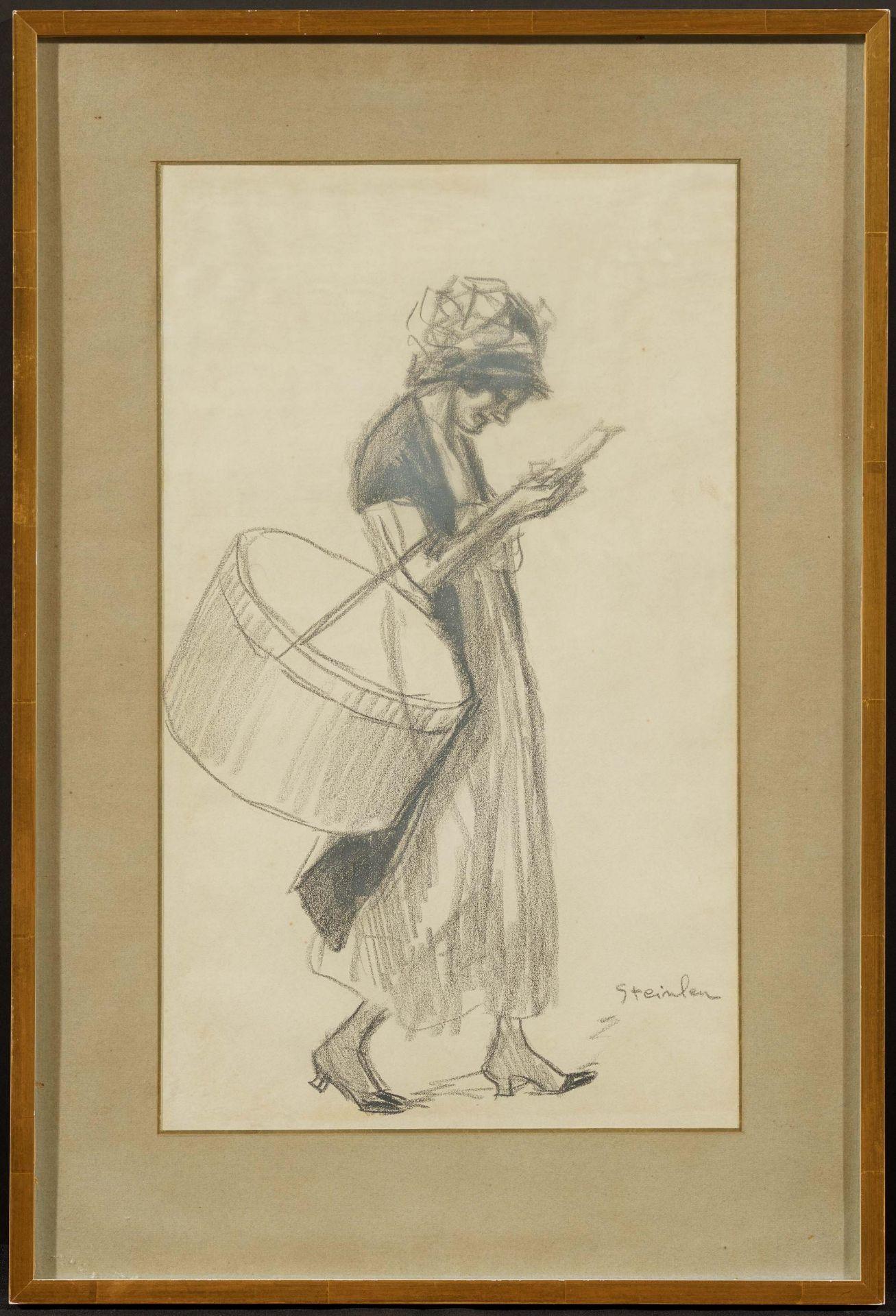 Steinlen, Théophile-Alexandre. 1859 Lausanne - 1923 Paris. Midinette. Lesendes junges Mädchen. - Bild 2 aus 4