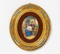 PORZELLANGEMÄLDE 'TAUFE'. Porzellan, farbig bemalt. Plattenmaß 15,5 x 11cm. Ohne erkennbare
