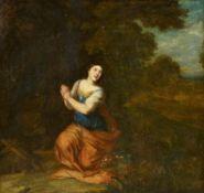 Französischer Meisterum 1700. Die büßende Magdalena. Öl auf Leinwand. Doubliert. 86 x 91cm. Rahmen.
