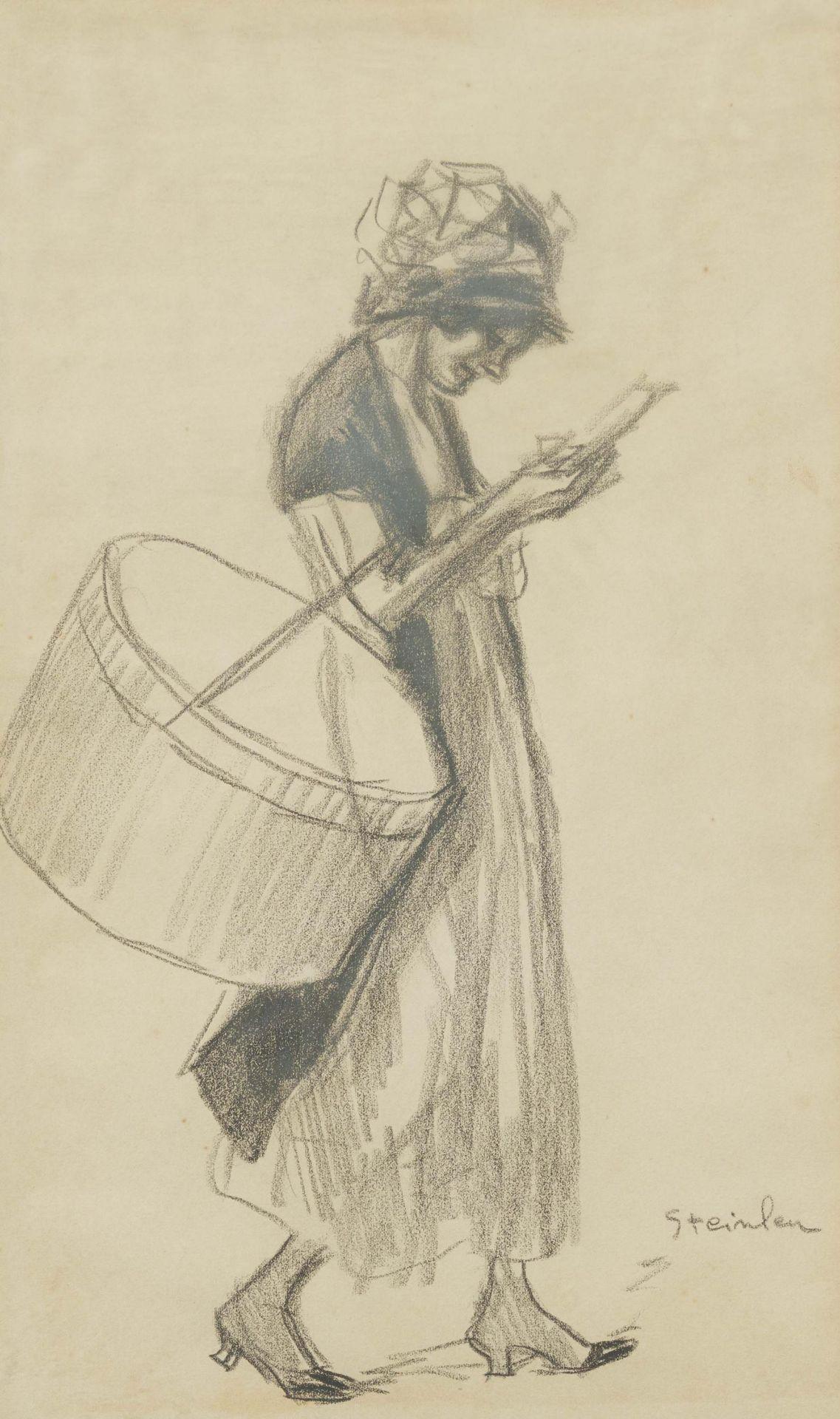 Steinlen, Théophile-Alexandre. 1859 Lausanne - 1923 Paris. Midinette. Lesendes junges Mädchen.