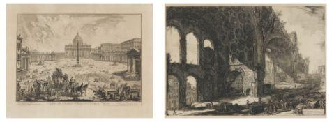 Piranesi, Giovanni-Battista. Rom 1720 - 1778 – nach. Zwei Rdierungen: a) Casa Aurea. 51,5 x 73,5cm.