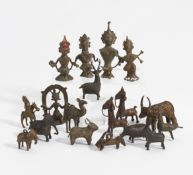 18 SMALL FIGURES OF GODS AND ANIMALS. East India. Regions Odisha and Bastar. 19th-20th c. Bronze