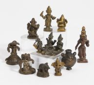TEN SMALL FIGURES OF GODS AND OTHERS. India, partly Maharashtra region. 18th-19th c. Bronze with