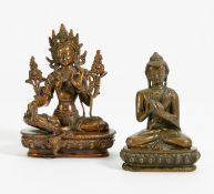 GREEN TARA AND BUDDHA SHAKYAMUNI WITH DHARMACHAKRA MUDRA. Tibet/Nepal. 19th/20th c. Copper bronze.