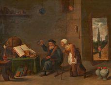 Niederländischer Meister. 17. / 18. Jh.Interieur mit Alchemisten. Öl auf Holz. Parkettiert. 48,5