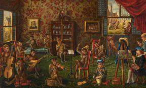 Niederländischer Meister. 18. / 19. Jh.Maleratelier mit musizierender Affengesellschaft. Öl auf