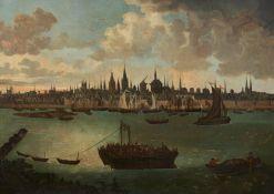 Flämischer Meister. 1. H. 18. Jh.Ansicht der Stadt Köln um 1740. Öl auf Leinwand. Doubliert. 80 x