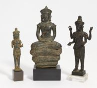 STANDING FOUR ARMED VISHNU AND BUDDHA ON SNAKE THRONE. Vishnu and Shiva probably 12th-13th c. or