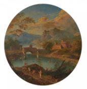 Französischer Meister. 18. Jh.Flusslandschaft im Gebirge. Öl auf Holz. Durchmesser 11,5cm.