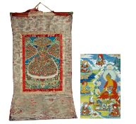 LARGE THANGKA OF THE REGUGE TREE OF THE GELUGPA SCHOOL WITH TSONGKHAPA. Tibet/Nepal. 19th-beg.