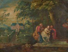 Flämischer Meister um 1700Susanna mit den beiden Alten. Öl auf Kupfer. 16,5 x 22cm. Rahmen.